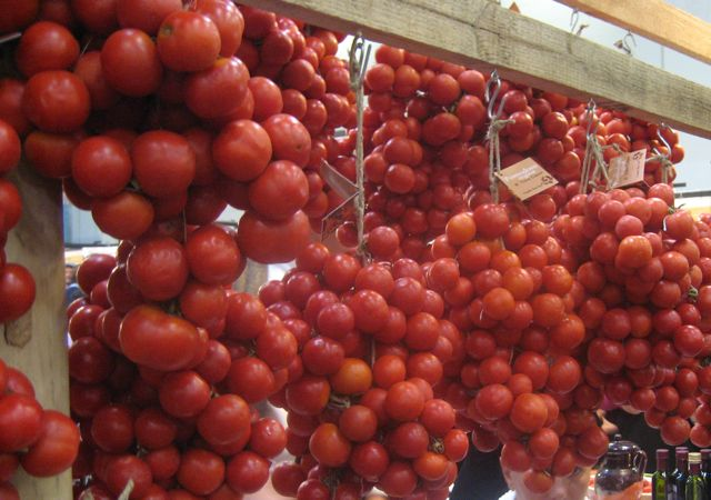 hanging tomatoes at the salone del gusto