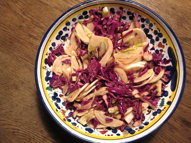 crunchy winter cabbage and fennel salad