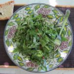 dandelion green salad with warm pancetta dressing