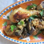 chicken {eggplant + basil}