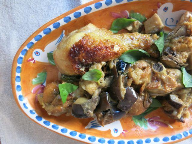 chicken {eggplant + basil}