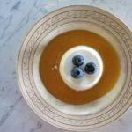 almond panna cotta {peach coulis)