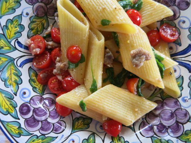 Pasta with Margoram and Sausage www.ElizabethMinchilliInRome.com