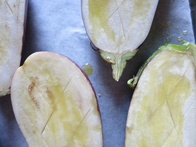 Eggplants, scored and ready to bake www.ElizabethMinchilliInRome.com