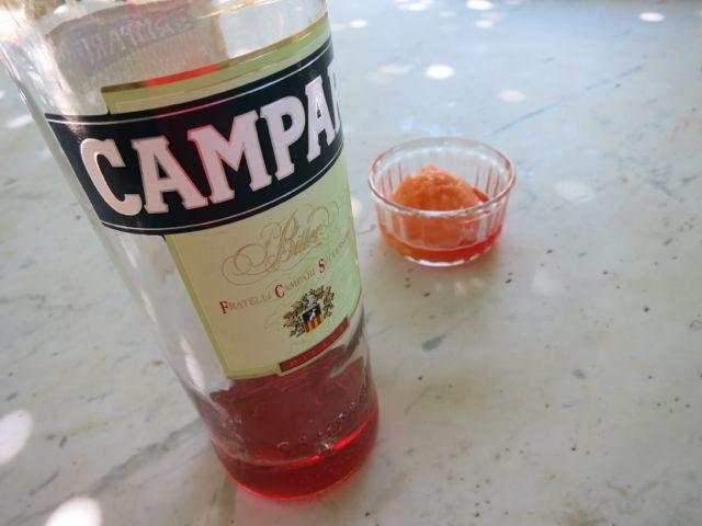Melon sorbet with Campari www.ElizabethMinchilliinRome.com