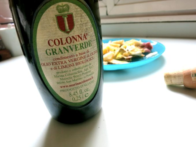 colonna grandverde olive oil  for raw artichoke salad