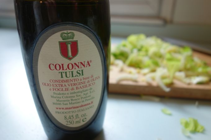 Marina Colonna Tulsi Olive oil and celery for Octopus and Celery Salad