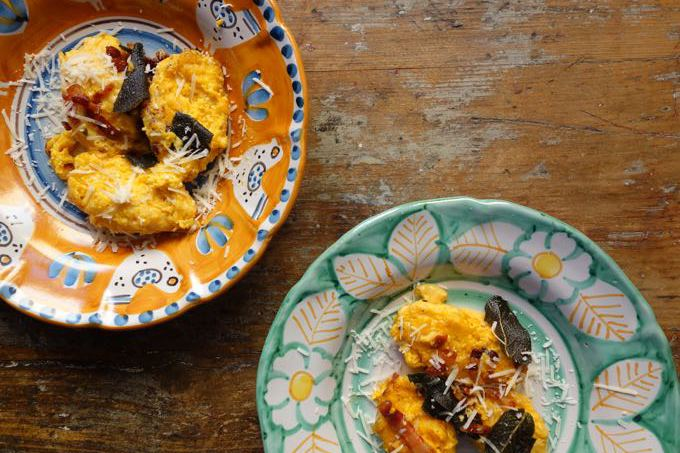Butternut Gnudi with sage and pancetta