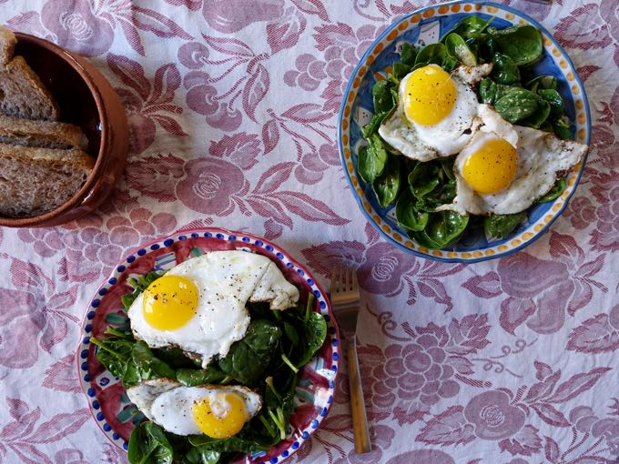 spinach salad {pancetta + fried duck eggs}