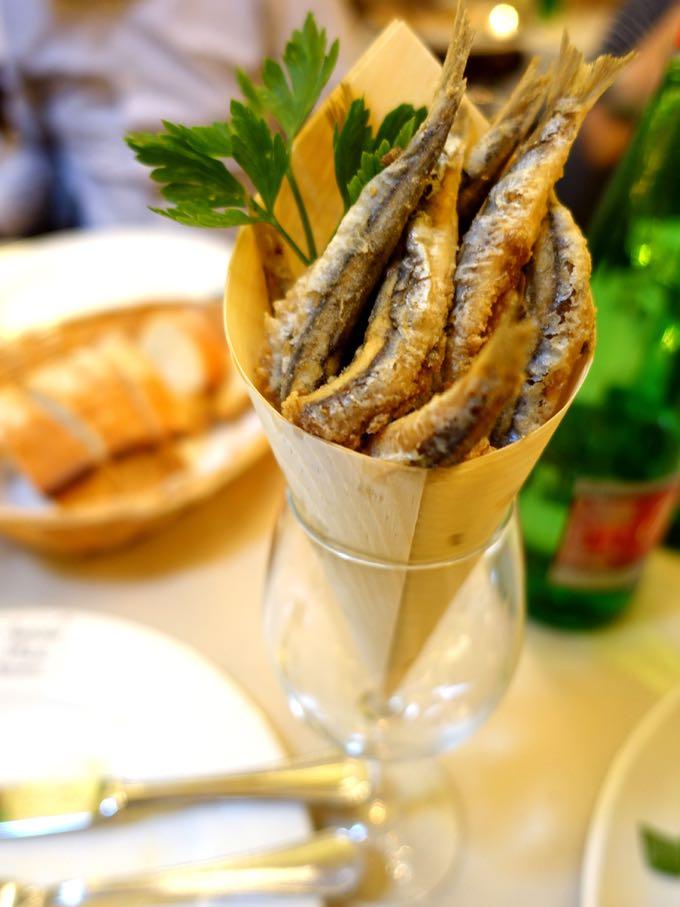 Antiche Mura, Polignano:  fried sardines