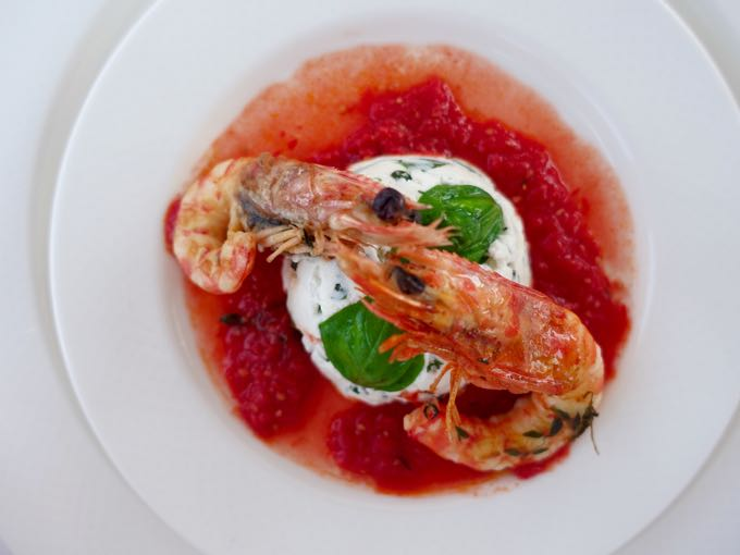 Shrimp and herbed ricotta