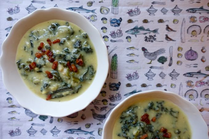 Dried Fave and Kale Soup