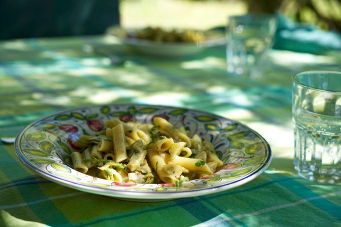 Pasta with Artichokes and Asparagus
